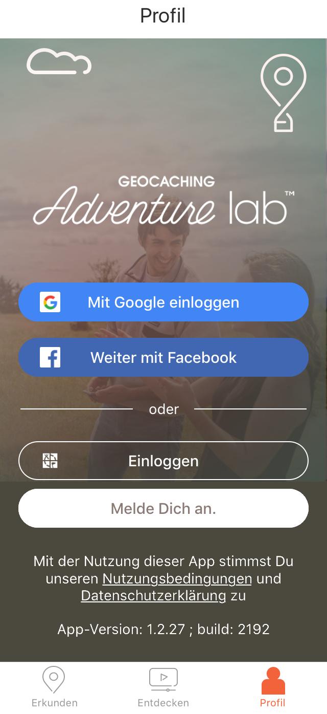 Adventure Lab App: Einloggen