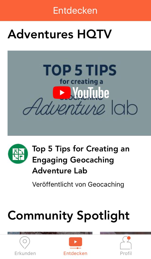Adventure Lab App: Menü: Entdecken