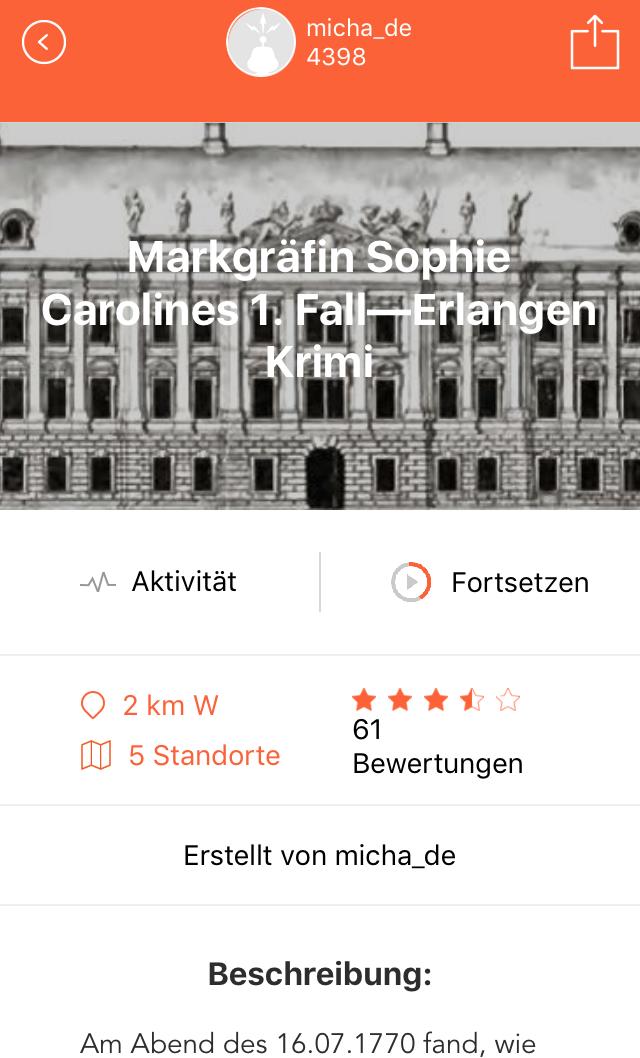 Adventure Lab App: LabCache Infoseite