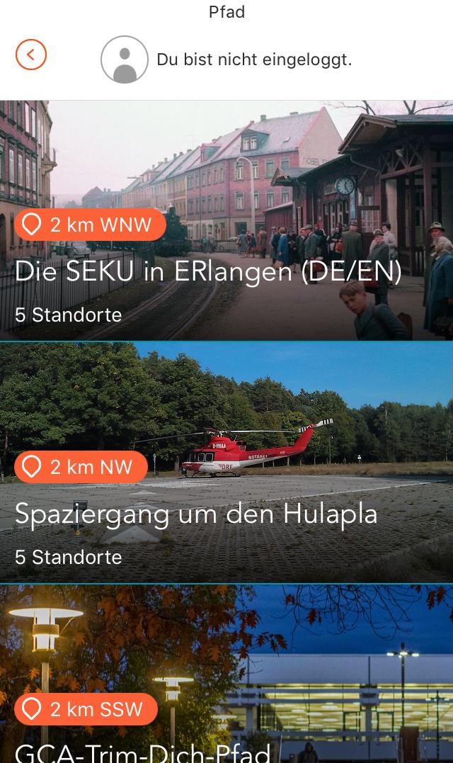 Adventure Lab App: Listenansicht