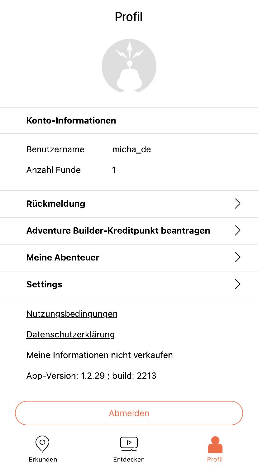 App - Profil angemeldet